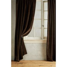 Anthropologie Matte Velvet Curtain ($238) ❤ liked on Polyvore featuring home, home decor, window treatments, curtains, brown, velvet curtains, anthropologie, brown curtains, velvet drapery and brown velvet curtains