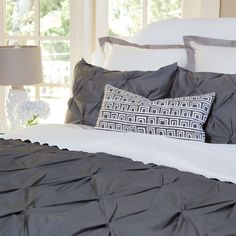 Great site for designer bedding | The Valencia Charcoal Gray Pintuck Duvet Cover | Crane and Canopy
