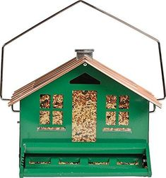 Perky-Pet Squirrel Be Gone II Feeder Home with Chimney. A metal squirrel resistant hopper bird feeder for any outdoor decor in a yard or garden. Squirrel Proof Bird Feeders, Best Bird Feeders, Wooden Bird Feeders, Wild Bird Feeders, Humming Bird Feeders, Cardinals, Different Birds, Thing 1, Backyard Birds