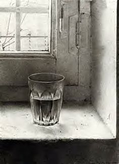 still life drawing of clear glass of water on old window sill, pencil drawing-  Antonio Lopez Garcia