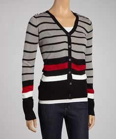 Take a look at this Black & Gray Stripe Color Block Cardigan by Boulevard Apparel on #zulily today!