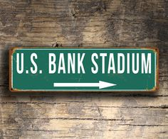 US Bank Stadium Sign, Vintage style US Bank Stadium Signs, us Bank Stadium Sign, Minnesota Vikings, Football Gifts, Vikings Signs by FanZoneSigns on Etsy