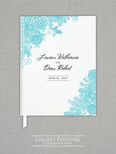 Custom Wedding Guest Book - Lauren Teal Lace Wedding Guestbook by Cricket Printing
