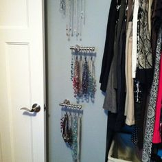 Necklace storage with toilet paper holders!