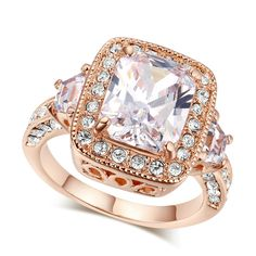 Cushion Clear Cubic Zirconia in 14k Rose Gold Plated over Sterling Silver