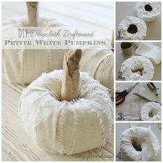 Driftwood-stemmed DIY Dropcloth Petite Pumpkins - Tutorial - by City Farmhouse White Pumpkins, Fall Pumpkins, Halloween Pumpkins, Fall Halloween, Halloween Crafts, Happy Halloween, Baby In Pumpkin, Diy Pumpkin, Paper Pumpkin