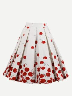 Joineles Cherry Print Summer Women Skirts Zipper Side Casual Skirts Plus Size Feminino Skirts Audrey Hepburn Party Vintage Skirt Floral Pleated Skirt, Midi Flare Skirt, Fit And Flare Skirt, Midi Skirts, Work Skirts, Jupe Swing, Swing Skirt, Style Floral, Retro Floral