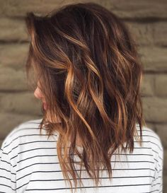 Messy Chocolate Lob with Caramel Highlights