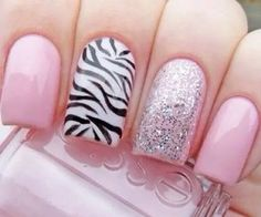 pink french nails with zebra print acent nail Great Nails, Fabulous Nails, Gorgeous Nails, Hot Nails, Pink Nails, Hair And Nails, Silver Nails, Cute Nail Designs, Beautiful Nail Designs