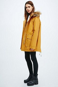 Parka London Tilda Coated Parka in Yellow - Urban Outfitters