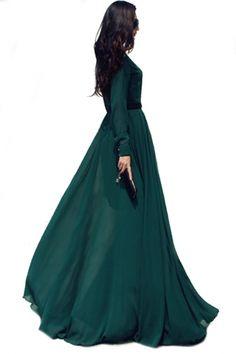 glamorous-dark-green-long-sleeve-maxi-chiffon-dress