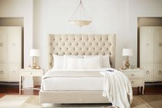 2. The Perfect Bed  One way to instantly transform your bedroom is to invest ina beautiful bedwitha stunning headboard. We promise it'll make all the difference, and it's an investment worth spending more on than nightstands or dressers that you may replace more frequently. One thing to keep in mind is that a bed is a piece that has the scale to define a room and design style, so make sure to choose a style, bedding, andpillowsthat speak to you, whether it's ashabby chic cottage look…