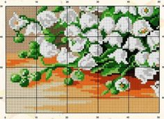 Cross Stitch Embroidery, Cross Stitch Patterns, Cross Stitch Numbers, Cross Stitch Flowers, Lily Of The Valley, Needlework, Charts, Floral, Crossstitch