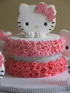 Ruffled pink ombre Hello Kitty birthday cake - almost too cute to eat! Great inspiration for a Hello Kitty birthday party. Hello Kitty Torte, Bolo Da Hello Kitty, Chat Hello Kitty, Hello Kitty Birthday Cake, Hello Kitty Themes, Happy Birthday, Happy 40th, 40th Birthday, Birthday Ideas