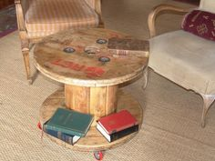 Mesa bobina con ruedas Artilujos: Muebles y decoración a partir de materiales reciclados