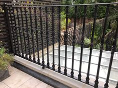Our Iron Cast Railings fitted to a residential project in Central London. Railings, Iron, Outdoor Structures, London, Projects, Home Decor, Log Projects, Big Ben London, Floating Stairs