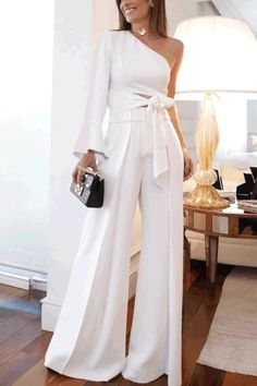 Product Fashion Pure Colour Off-shoulder jumpsuit Brand Name Wofashions SKU Gender Women Style Elegant /Fashion/Modern Type jumpsuit Material Polyester Fiber Decoration Pure Colour Please Note: All dimensions are measured manually with a deviation of 1 to Wedding Robe, Wedding Jumpsuit, Wedding Gowns, Wedding Ceremony, White Outfits, Classy Outfits, Casual Outfits, Off Shoulder Jumpsuit, Look Fashion
