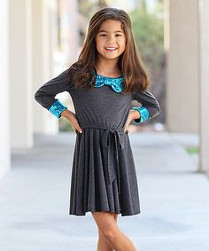 Take a look at the Charcoal & Aqua Sequin Aubrey Dress - Toddler & Girls on #zulily today!