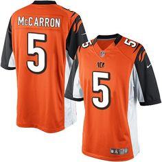 Nike Limited AJ McCarron Orange Youth Jersey - Cincinnati Bengals #5 NFL Alternate