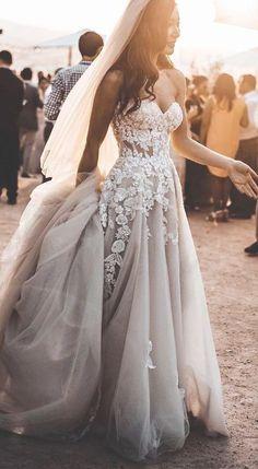 Charming A-Line Sweetehart Tulle Floor Length Wedding Dresses With - Wedding Gowns - Wedding Dress Boho Wedding Dress With Sleeves, Lace Beach Wedding Dress, Best Wedding Dresses, Bridal Dresses, Wedding Gowns, Lace Dress, Tulle Wedding, Chic Wedding, Maxi Dresses