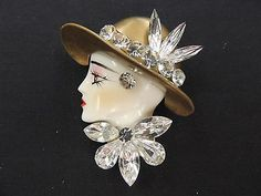 Vintage Clear Rhinestone Hand Painted Vogue Lady Woman Profile Face Brooch.