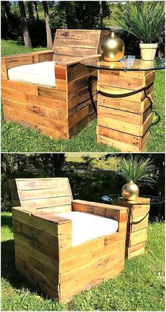 Ingenious Ideas to Reuse Wood Pallets: Crafting furniture from re-claimed wood pallet is pocket friendly activity. Pallet Garden Furniture, Outdoor Furniture Plans, Recycled Furniture, Pallet Projects, Woodworking Projects, Pallet Ideas, Wooden Pallets, Pallet Wood, Palette