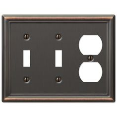 amerelle chelsea 149ttddb 2 toggle 1 duplex wall plate aged bronze