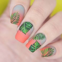 Gray/coral gradient nails with tropical leaf designs
