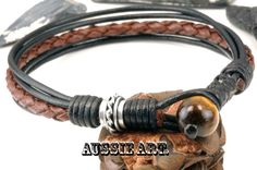 1B-534 Finely Made Sterling Silver , Leather & Tigers Eye Wristband Men Bracelet