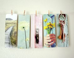 Five Bookmarks  - Fine Art photography  - aqua green vintage keys pink reading book hostess gift collection cottage chic - gift under 10