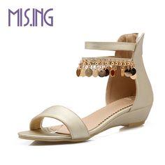 Metal Decoration women shoes sandals Bohemia Style Summer Peep Toe sandals  pumps Cover Heel Wedges Back