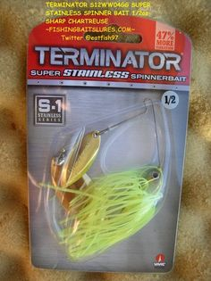 TERMINATOR S12WW04GG SUPER STAINLESS SPINNER BAIT 1/2 OZ SHARP CHARTREUSE http://fishingbaitslures.com/products/terminator-s12ww04gg-super-stainless-spinner-bait-12-oz-sharp-chartreuse