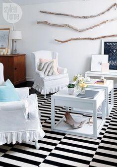 Black and white living room design {PHOTO: Robin Stubbert}