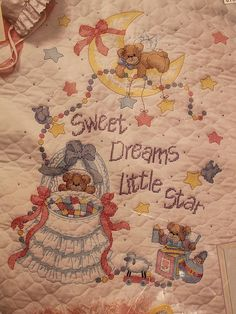 Sweet Dreams Quilt - Designed by Lucy Rigg - Dimensions Stamped Cross Stitch - Cross Stitched Quilt for Baby Room - Stitchery Kit 3192