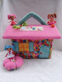Cute as a Button Fabric Dollhouse for mini Lalaloopsy dolls// Ready To Ship. $34.00, via Etsy.