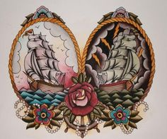 traditional ship tattoo | agathaprim reblogged this from saveyourhearts