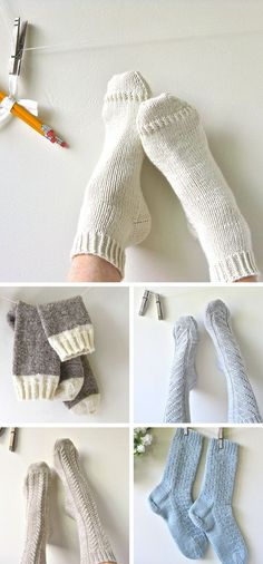 New Favorites: Cabinfour's collected socks - Knitting: Socks - Knitting Ideas Crochet Socks, Knit Or Crochet, Knitting Socks, Hand Knitting, Cable Knit Socks, Knitted Slippers, Crochet Granny, Bobby Socks, How To Purl Knit