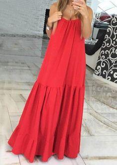 VONDA Bohemian Dress Women 2019 Summer Sexy Sleeveless Spaghetti Strap Ruffle Swings Maxi Long Dresses Holiday Vestido Plus Size Nice Dresses, Casual Dresses, Fashion Dresses, Long Dresses, Dresses Dresses, Awesome Dresses, Women's Casual, Dresses Online, Casual Clothes