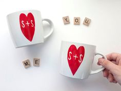 Custom couple mugs gift for Valentines Day @etsy