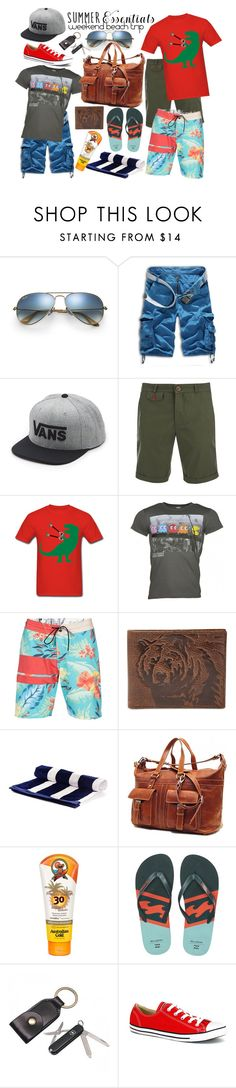 """""""summer men's wear essentials"""" by birdiemacpac ❤ liked on Polyvore featuring Ray-Ban, Vans, Oliver Spencer, Volcom, FOSSIL, Australian Gold, Billabong, Alden, Converse and men's fashion"""