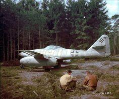 Abandoned German jet fighter Messerschmitt Me.262A. Germany, 1945.