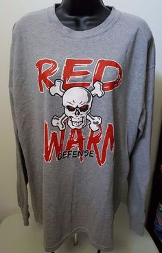 "Russell Athletic Men's Gray/Red/White ""Red Swarm Defense"" T-Shirt Size L #RussellAthletic #GraphicTee"