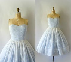 1950s Vintage Dress  50s Snowflake Organdy Formal by Sweetbeefinds, $298.00