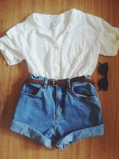 White blouse + high waisted denim shorts + skinny brown belt + black shades //summer feel, simple, classic