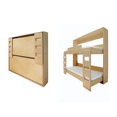 Bunk bed Murphy bed!  That's a great idea for when the grandkids come over...but the $4500 price tag is scary.  ...and safety-conscious me would require some sort of guard rail at the ends.  Hey, Ikea, how about doing a one-off of this?  Double Murphy Bed | Dwell