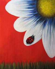 Perfect Summer by Shawna Erback Canvas Print / Canvas Art by Erback Art Easy Canvas Painting, Simple Acrylic Paintings, Spring Painting, Painting & Drawing, Canvas Art, Canvas Ideas, Daisy Art, Beginner Painting, Easy Paintings For Beginners