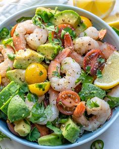 Eat this Lemony Shrimp + Avocado + Tomato Salad for a Clean.- Eat this Lemony Shrimp + Avocado + Tomato Salad for a Clean… Sharon Gordon jazzysunset Salad Life! Eat this Lemony Shrimp + Avocado + Tomato Salad for a Clean, Protein Rich Salad! Seafood Recipes, Diet Recipes, Cooking Recipes, Healthy Recipes, Protein Rich Recipes, Cold Shrimp Salad Recipes, Shrimp Salads, Salmon Salad Recipes, Shrimp Ceviche