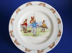 Rare Early Royal Doulton Bunnykins 'Game of Golf' Child's Plate signed Barbara Vernon c1939