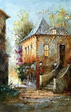 Ideas For Painting Landscape Oil Palette Knife Palette Knife Painting, Acrylic Art, Beautiful Paintings, Painting Techniques, Art Oil, Landscape Paintings, Water Color Painting Landscape, Watercolor Paintings, Oil Paintings