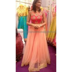 """#peaches #red #floorlength #anarkali #hyderbad #designerstore #designer #weddingcollection #bridalwear #prettyinpeach"""